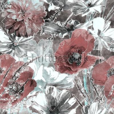Фотообои искусство винтаж акварель красочные цветочные бесшовные узор с красными и белыми маками, пионами, розами, листьями и травами на темно-сером фоне
