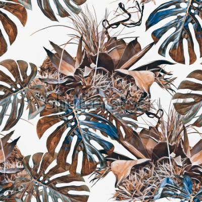 Фотообои Тропические растения бесшовные модели. Акварельные иллюстрации Художественный фон.