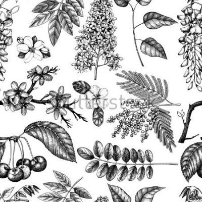 Фотообои Векторный фон с рисованной цветущие деревья иллюстрации. Весенние цветы эскиз коллекции. Бесшовный цветочный узор