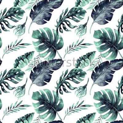 Фотообои Бесшовные акварель из тропических листьев, густые джунгли. Ручная роспись пальмового листа. Текстуру с тропическим летним временем можно использовать в качестве фона, оберточной бумаги, текстиля или о