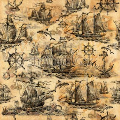 Фотообои Бесшовная старинная структура, обои на морскую тему, оттянутый из руки со старыми парусниками, акулами, рулями, сберегательными кругами и старой бумагой.