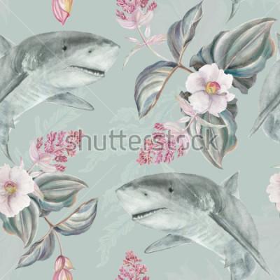 Фотообои Бесшовный цветочный узор с розовой мединилой и акулой