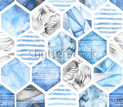 Фотообои синий бесшовная текстура на белом фоне. Абстрактная акварель шестиугольника с листьями монстера, полосы. Грандж текстуры. Ручная роспись летом иллюстрации. Морской стиль