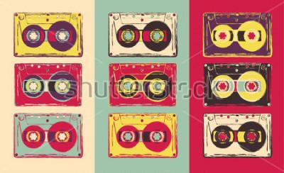 Фотообои Набор ретро аудио кассет, поп-арт стиль. Векторное изображение