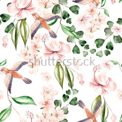Фотообои Акварельный рисунок с весенними цветами, листьями эвкалипта и птиц. иллюстрация