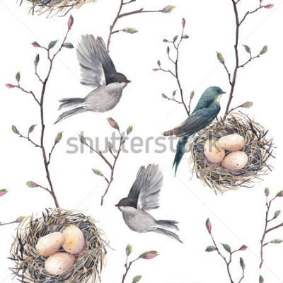 Фотообои Акварель бесшовный паттерн с гнезда, птиц и веток деревьев. Вектор рисованной весной фон. Винтажные обои с ласточкой и яйцами
