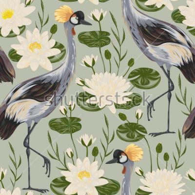 Фотообои Безшовная картина с птицей крана и лилией воды. Восточный мотив Старинные рисованной векторные иллюстрации в стиле акварели