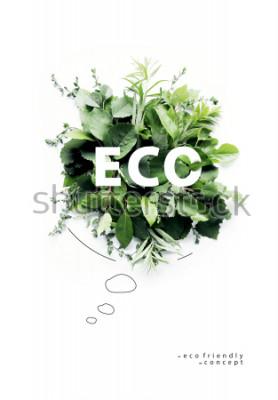 Фотообои Экологически чистая планета Poster.Symbolic говорящий пузырь, сделанный из зеленой травы и ветвей. Минимальная концепция природы. Говоря природой, Думай Зеленым Концепция экологии. Квартира лежала. Ви