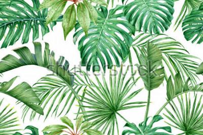 Фотообои Тропические листья. Монстера, стрелиция, пальмы. Акварель бесшовные модели.