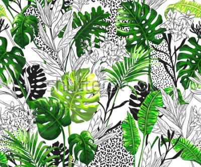 Фотообои Ботанический фон с тропическими пальмовых листьев. Бесшовные векторные шаблон в модном гавайском стиле.