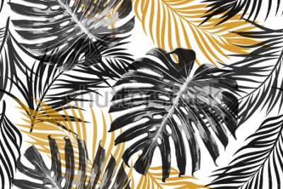 Фотообои Тропические пальмовые листья, листья джунглей. Красивые бесшовные векторные модные шикарные абстрактный фон тропический цветочный узор