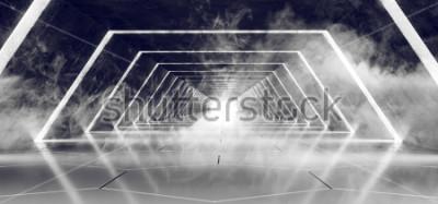 Фотообои Sci Fi Современный Футуристический Темный Пустой Дым и Туман Бетонные Плиточный Инопланетный Туннельный Коридор С Белым Светом Отражающая Поверхность Элегантный Фон 3D-рендеринга Иллюстрация