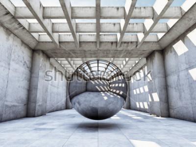 Фотообои Арт-концепция бетонный тоннель с металлическим шаром. 3D иллюстрации