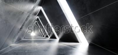 Фотообои Пустой Длинный Светлый Бетон Современный научно-фантастический Футуристический Треугольник Shaped Строительство Туннель Коридор 3D-рендеринга Иллюстрация