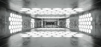 Фотообои Футуристический Sci Fi Космический корабль Гранж Бетон Пустой туннель с белыми светящимися шестиугольниками в форме огней с черным темным концом 3D-рендеринга Иллюстрация