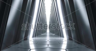 Фотообои Футуристический реалистичный большой научно-фантастический коридор с белыми огнями и отражениями. 3D-рендеринг