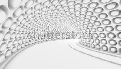 Фотообои Белый абстрактный туннель 3d фон. 3D визуализация иллюстрации