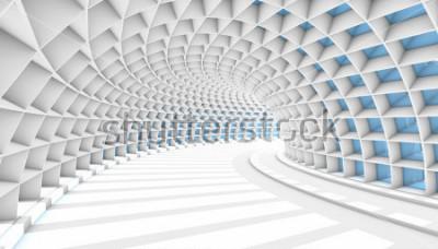 Фотообои Белый абстрактный туннель с окнами синий прямоугольник. 3D визуализация иллюстрации