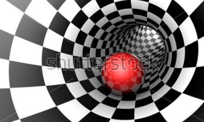 Фотообои Предопределение. Красный шарик в шахматном тоннеле (изображение концепции). Пространство и время. 3D иллюстрации Доступный в высоком разрешении и нескольких размерах, чтобы соответствовать потребностя