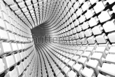 Фотообои Абстрактная геометрическая предпосылка с тоннелем идя к перспективе. 3D визуализация