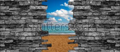 Фотообои 3D каменная стена потолок обои