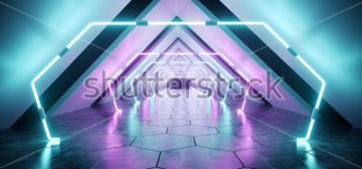 Фотообои Современный футуристический Инопланетный Светоотражающий бетонный коридор Тоннель Пустая комната с фиолетовыми и синими неоновыми светящимися фонами Шестиугольный пол