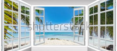 Фотообои лето солнечный день вид из окна на море пляж с пальмой