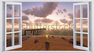 Фотообои Пляж, вид из окна.