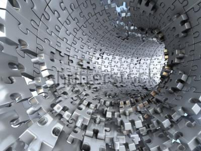 Фотообои Туннель из металлических головоломок. Концептуальная 3d иллюстрация,