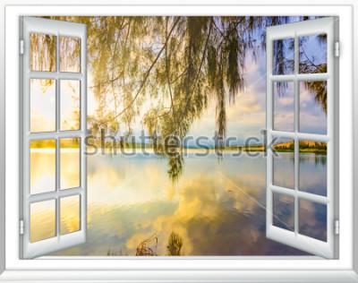 Фотообои Рай с видом на океан из окна на остров солнечный летний день