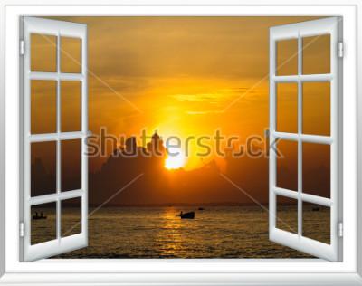 Фотообои красивый закат на море вид из окна с открытыми шторами