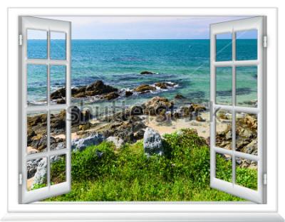 Фотообои вид на море из окна на остров солнечный летний день