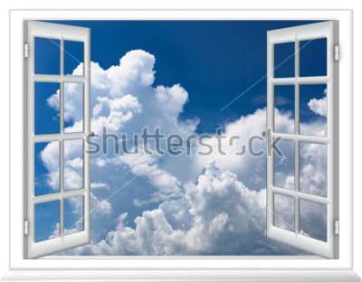 Фотообои открытое окно вид на небо с облаками восход