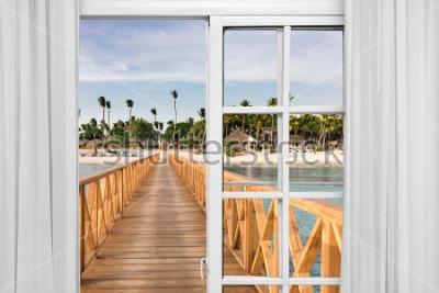 Фотообои окно открытого вида на беседку в море