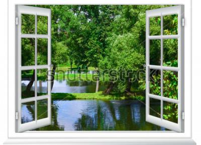Фотообои вид из окна на водоем и дерево летом