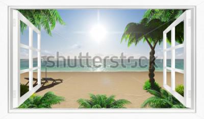 Фотообои Тропический пляж с видом на море из окна