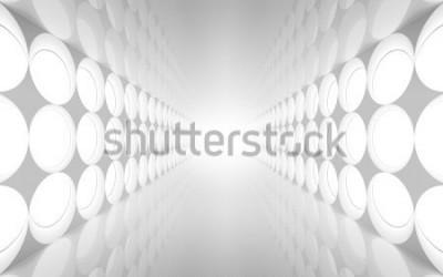 Фотообои Белый абстрактный 3d интерьер с круглой декоративной подсветкой на стене