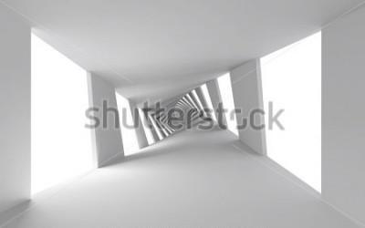 Фотообои Абстрактный 3d фон с белым витым спиральным коридором
