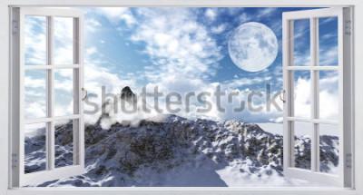 Фотообои Красивый горный пейзаж, вид из окна.