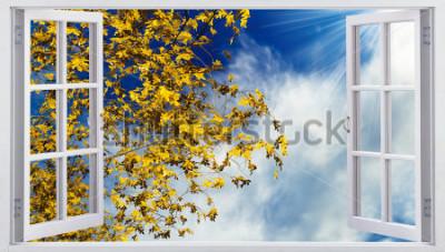 Фотообои Желтые осенние листья в небе