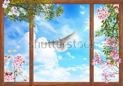 Фотообои 3d небо облака и красивое дерево, цветочная рамка