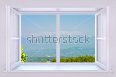 Фотообои Природа за окном 3D визуализации с вставленной фотографией