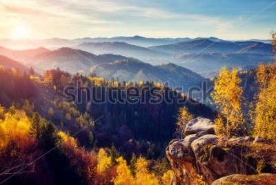 Фотообои Величественные деревья с солнечными лучами в горной долине. Драматическая и живописная утренняя сцена. Красные и желтые листья. Теплый тонизирующий эффект. Карпаты, Сокильский хребет. Украина, Европа.