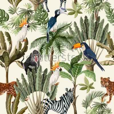 Фотообои Бесшовный фон с экзотическими деревьями и животными.