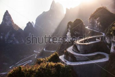 Фотообои The winding road of Tianmen mountain national park, Hunan province, China