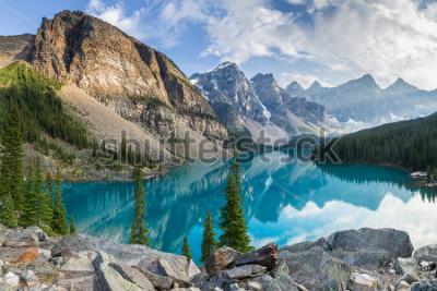Фотообои Moraine lake with the rocky mountains panorama in the banff canada