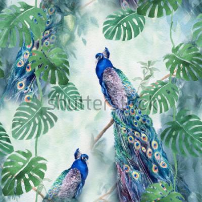 Фотообои Seamless watercolor pattern with peacock