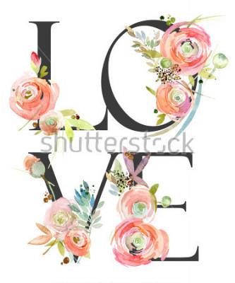 Фотообои watercolor flower background. love