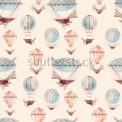 Фотообои Watercolor pattern retro balloon, flying ship, baby wallpaper. retro wallpaper