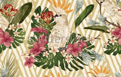 Фотообои Seamless tropical pattern background with tropical flowers and cockatoo bird. Tropicana wallpaper, digital paper, raster illustration in vintage Hawaiian style.